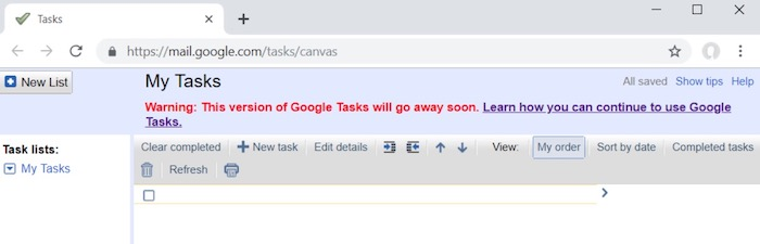 Google Tasks go away