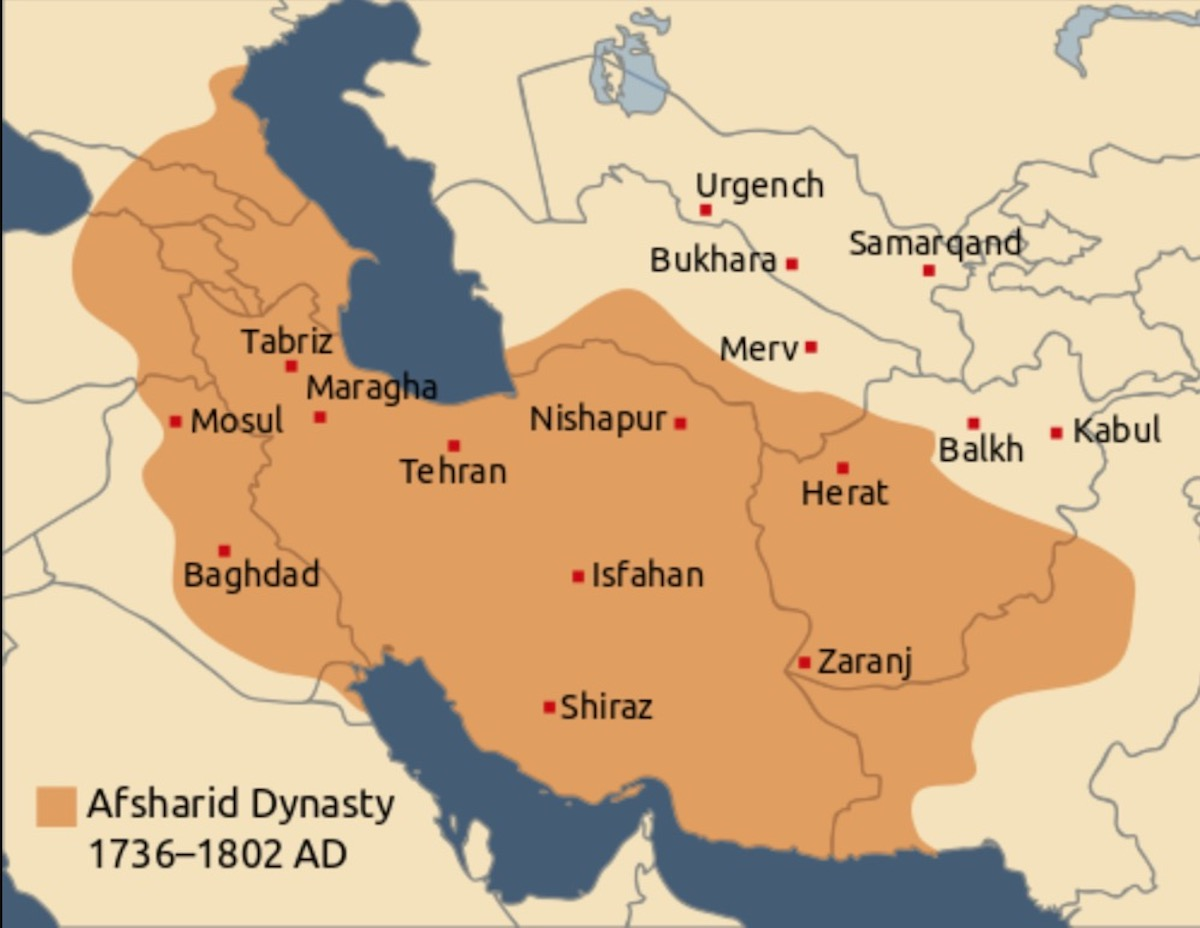 アフシャール朝最盛期の領土