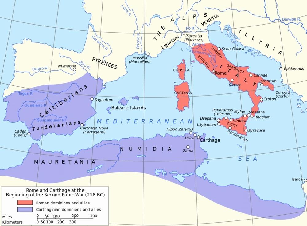 第二次ポエニ戦争の地図