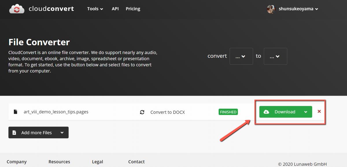 cloudconvertを使ってpagesをwordに変更する④