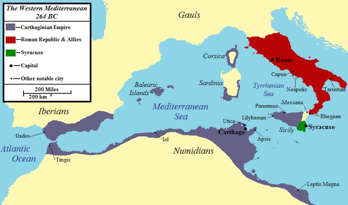 第一次ポエニ戦争時のローマ・カルタゴ領