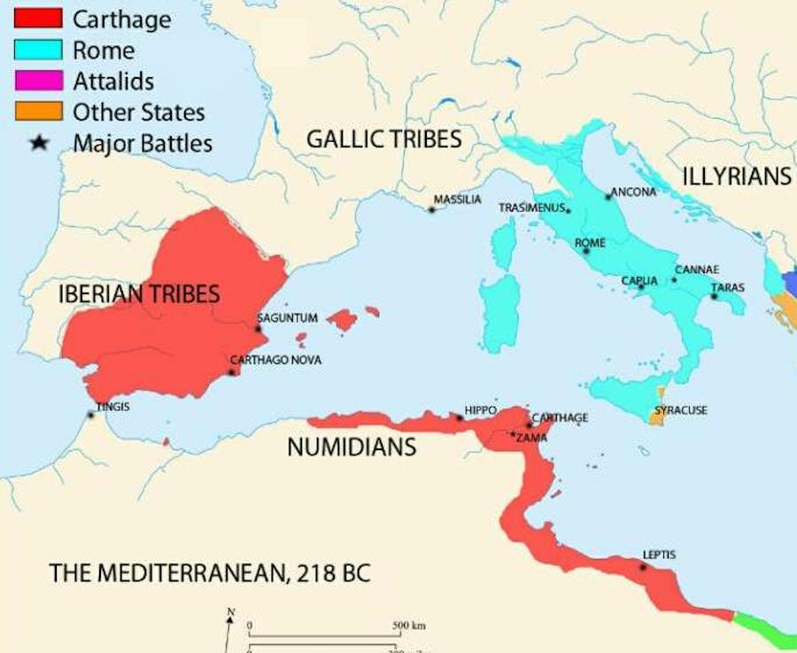 第二次ポエニ戦争時のローマ・カルタゴ領