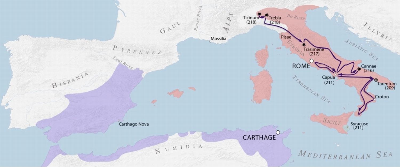 第二次ポエニ戦争におけるハンニバル軍の進路