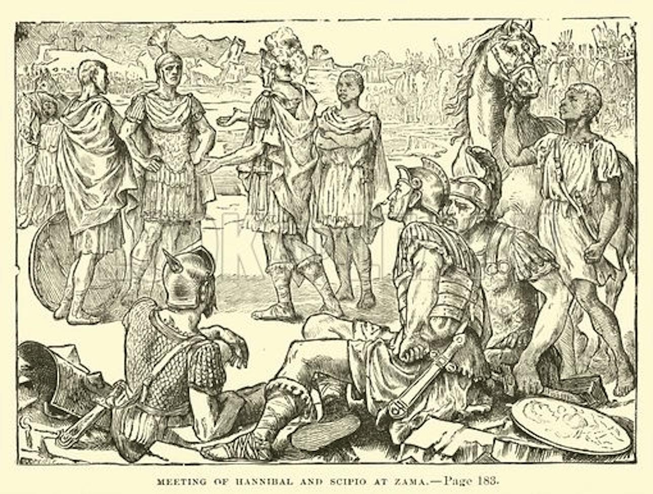 ザマの戦いを前に会見するハンニバルとスキピオ
