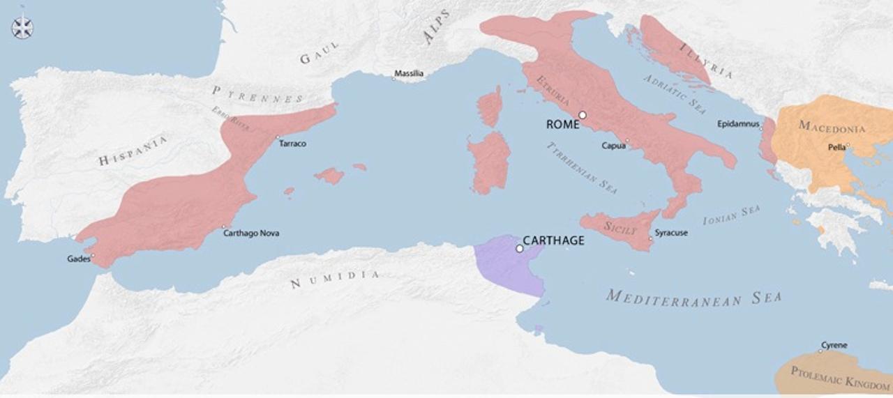 第三次ポエニ戦争時の領土地図