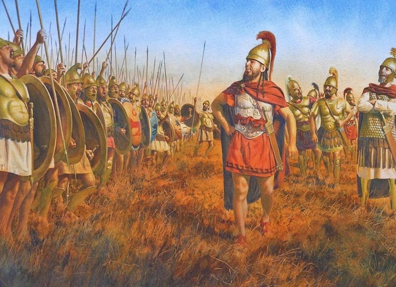 閲兵し兵を鼓舞するクサンティッポス