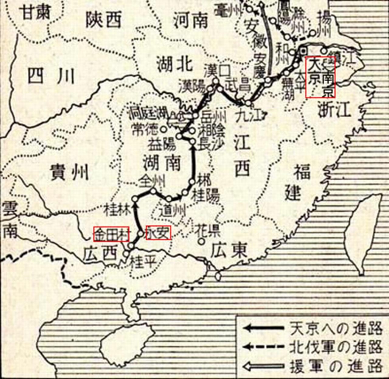 太平天国の乱の地図
