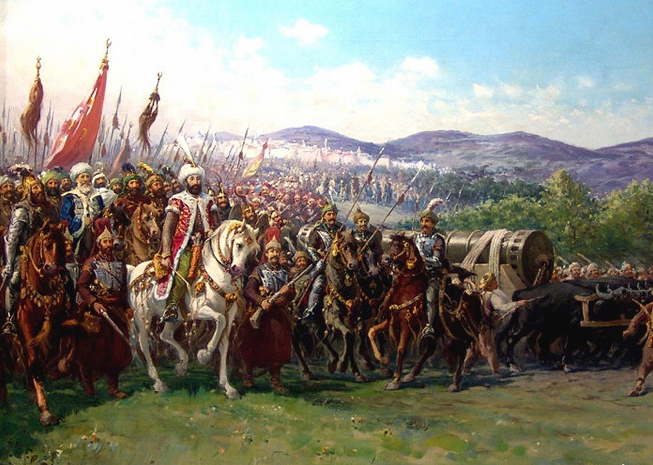 ファウスト・ゾナーロ「巨大な大砲を携えてコンスタンティノープルに近づくメフメト2世とオスマン帝国軍」.